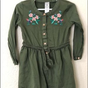 CARTERS Size 2T Girls Long Sleeved Belted Dress
